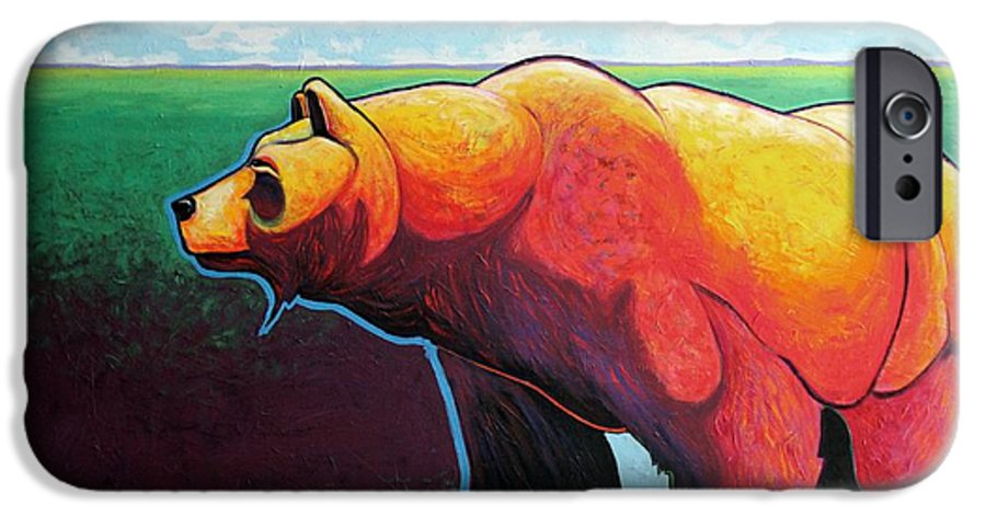 Grizzly Bear IPhone 6 Case featuring the painting In His Prime by Joe Triano