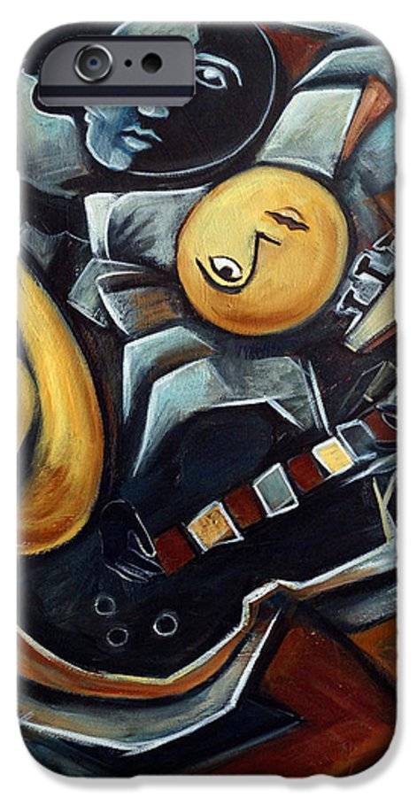 Cubism IPhone 6 Case featuring the painting Indigo Blues by Valerie Vescovi