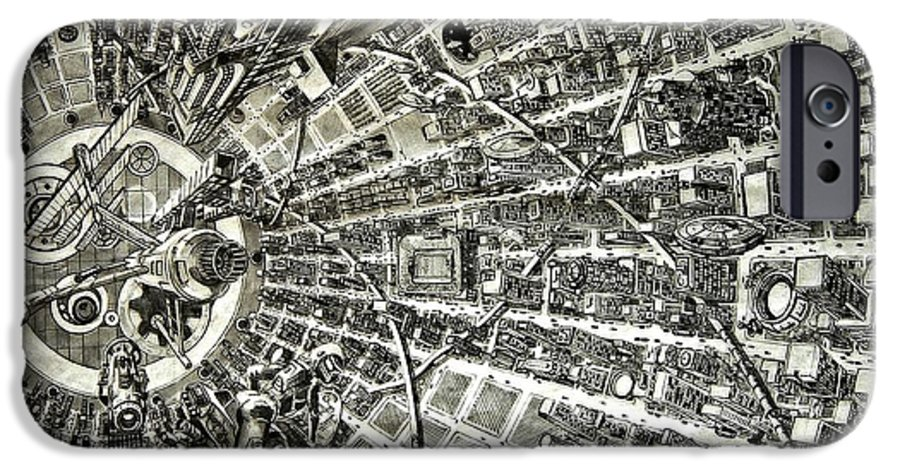 Cityscape IPhone 6 Case featuring the drawing Inside Orbital City by Murphy Elliott