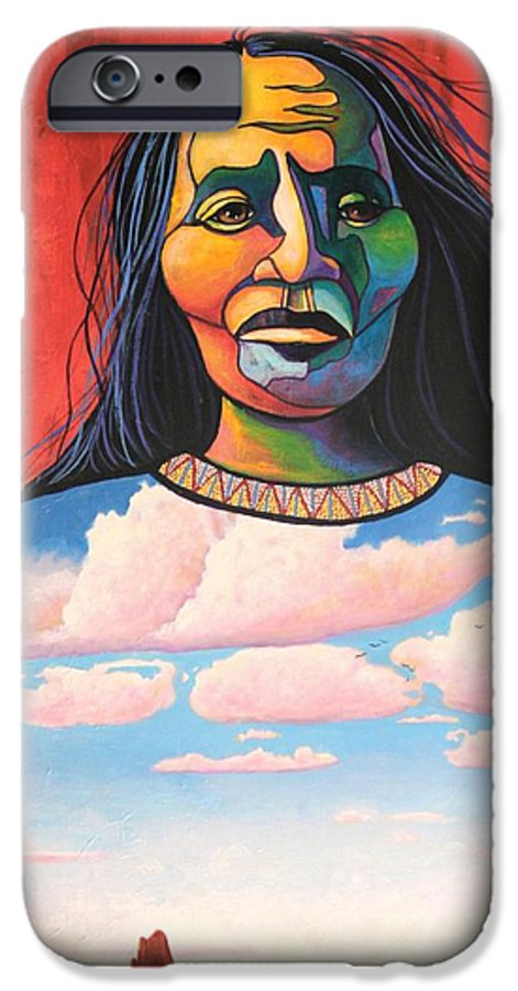 Native American IPhone 6 Case featuring the painting Into Her Spirit by Joe Triano