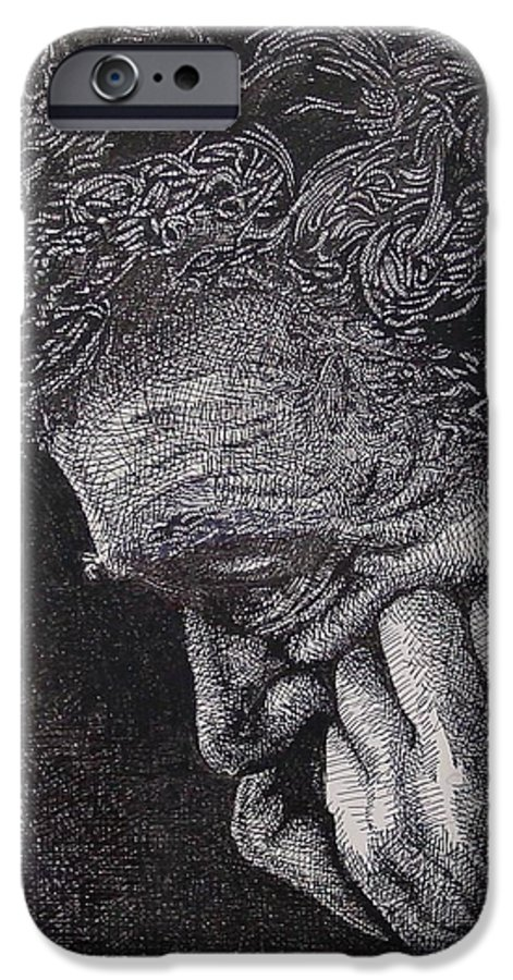 Portraiture IPhone 6 Case featuring the drawing Introspection by Denis Gloudeman