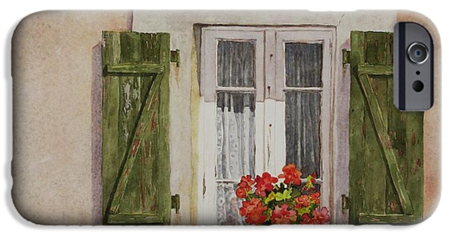 Watercolor IPhone 6 Case featuring the painting Irvillac Window by Mary Ellen Mueller Legault