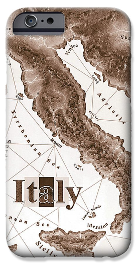Italian IPhone 6 Case featuring the mixed media Italian Map by Curtiss Shaffer