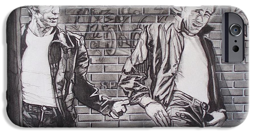 Americana IPhone 6 Case featuring the drawing James Dean Meets The Fonz by Sean Connolly