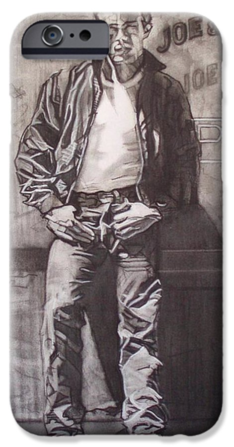 Charcoal; Icon;americana;cool;window;sidewalk;street;rock And Roll;jeans;t-shirt;diner;movie Star IPhone 6 Case featuring the drawing James Dean by Sean Connolly