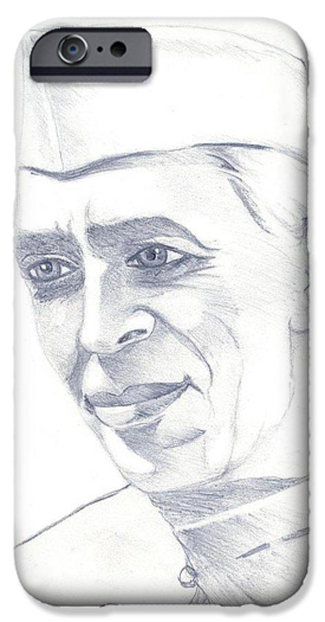 Jawaharl Lal Nehru Photos IPhone 6 Case featuring the painting Jawaharlal Nehru by Tanmay Singh