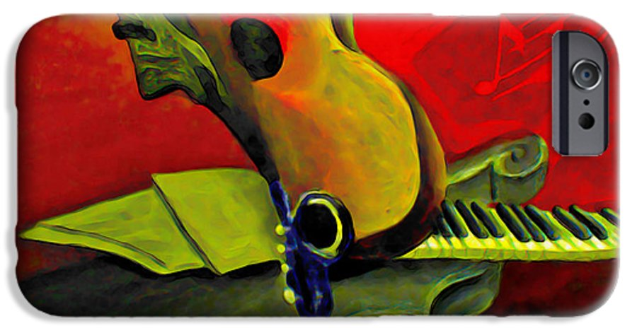 Abstract IPhone 6 Case featuring the painting Jazz Infusion by Fli Art