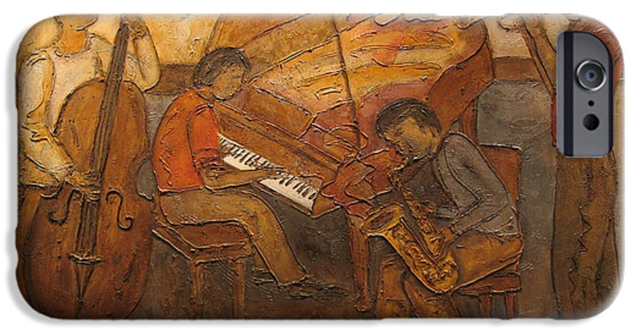Impressionist IPhone 6 Case featuring the painting Jazz Quartet by Anita Burgermeister