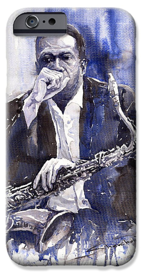 Jazz IPhone 6 Case featuring the painting Jazz Saxophonist John Coltrane Blue by Yuriy Shevchuk