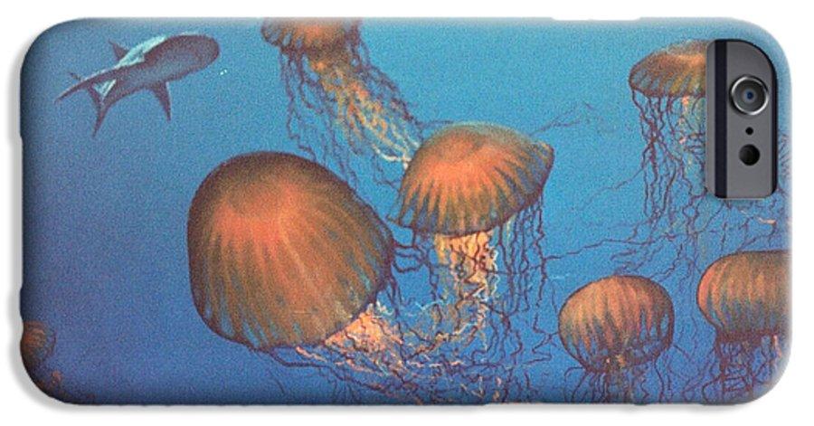 Underwater IPhone 6 Case featuring the painting Jellyfish And Mr. Bones by Philip Fleischer