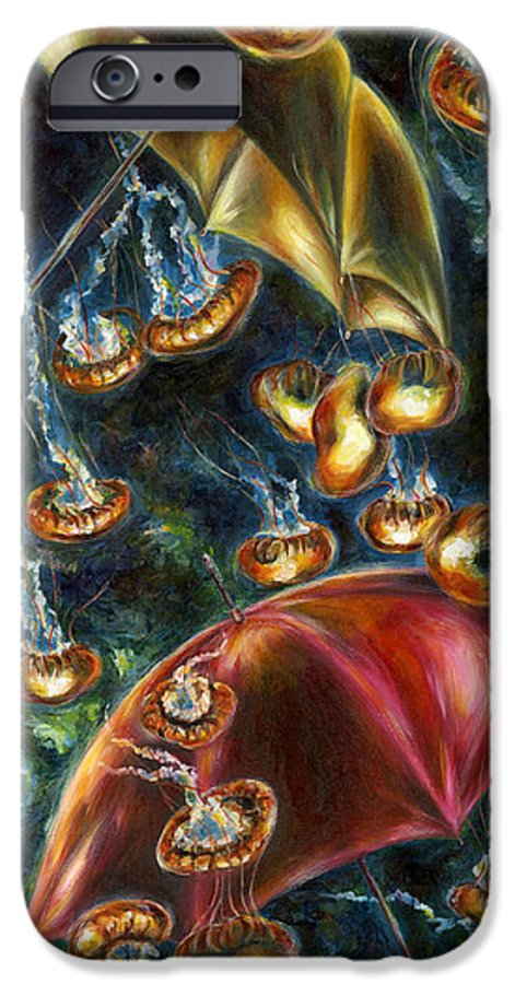 Jellyfish IPhone 6 Case featuring the painting Jellyfishy Evening by Hiroko Sakai