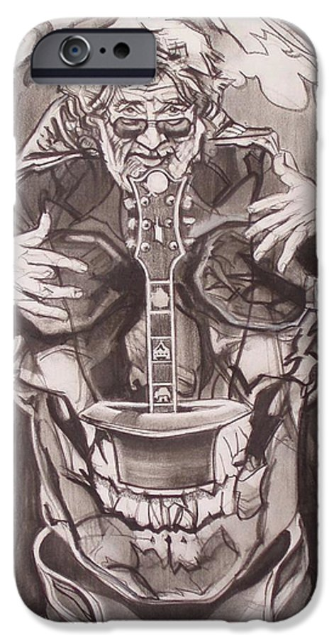 Charcoal; Skull;guitar;music;magic;mystic;wizard;cape;hat;shades;grateful Dead;deadheads IPhone 6 Case featuring the drawing Jerry Garcia . . Magic Is What We Do - Music Is How We Do It by Sean Connolly