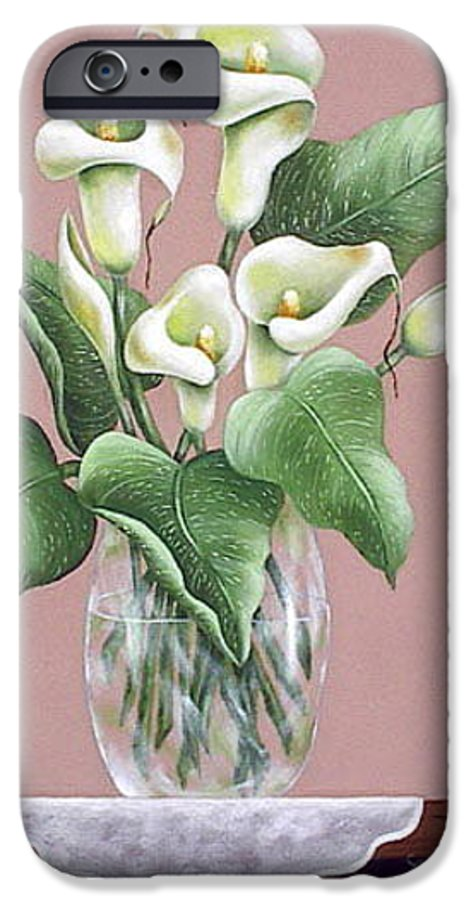 Oil IPhone 6 Case featuring the painting Josies Lilies by Ruth Bares