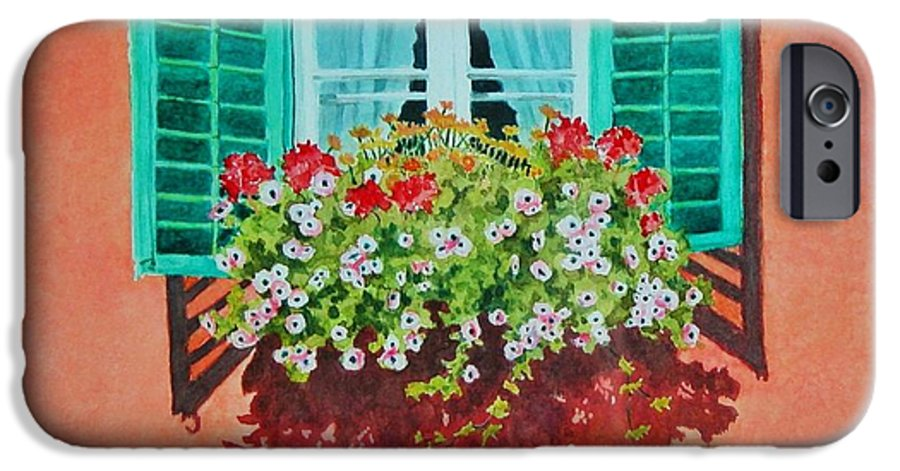 Window Box IPhone 6 Case featuring the painting Kitzbuhel Window by Mary Ellen Mueller Legault