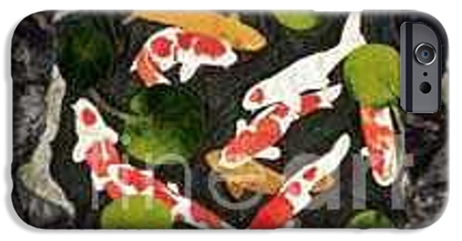 Fiber IPhone 6 Case featuring the tapestry - textile Koi Fest by Jenny Williams
