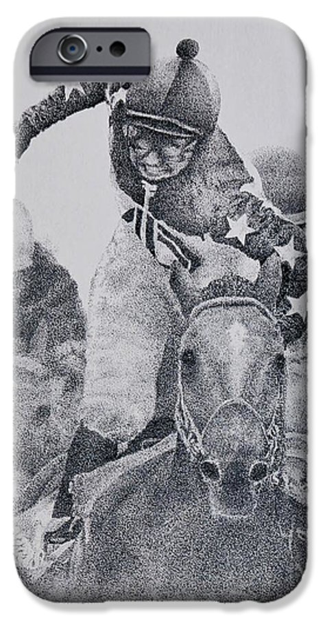 Horses Horse Racing Jockeys Racetrack Azeri Thorobreds IPhone 6 Case featuring the painting Last Call by Tony Ruggiero