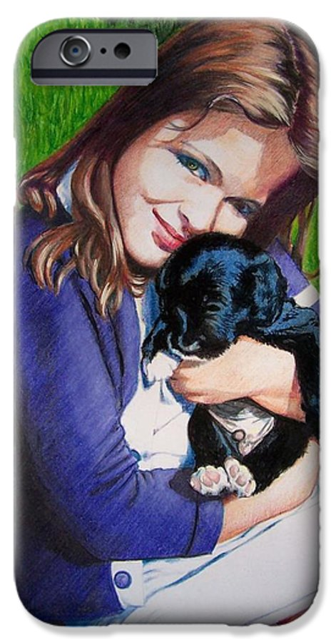 Girl IPhone 6 Case featuring the mixed media Leslie And Sergeant by Constance Drescher