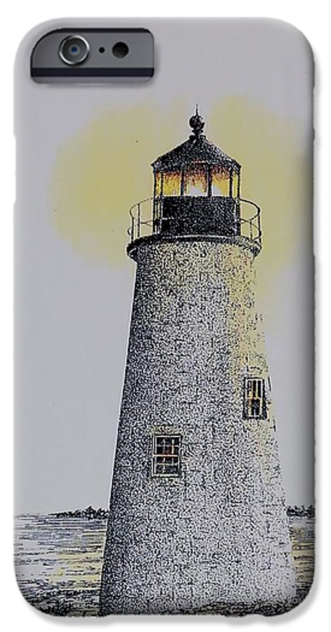 New England Lighthouse Seascape Landscape Pen & Ink Watercolor Coastline Connecticut IPhone 6 Case featuring the painting Light On The Sound by Tony Ruggiero