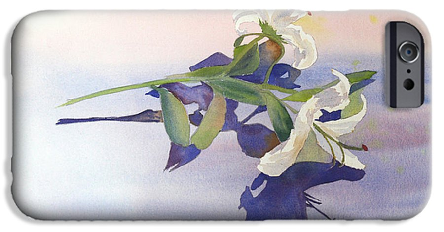 Lily IPhone 6 Case featuring the painting Lilies At Rest by Patricia Novack
