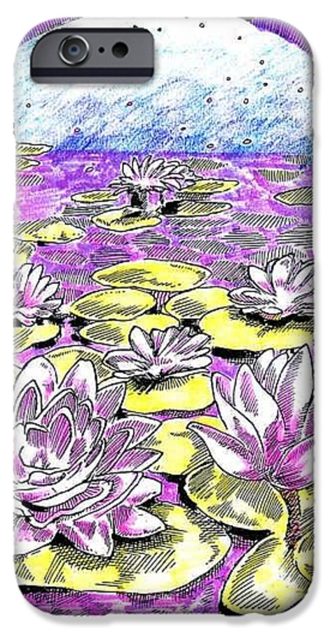 Lilies Of The Lake IPhone 6 Case featuring the drawing Lilies Of The Lake by Seth Weaver