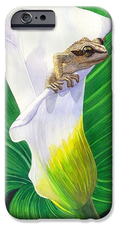 Frog IPhone 6 Case featuring the painting Lily Dipping by Catherine G McElroy