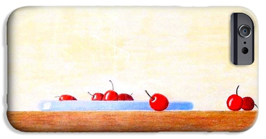 Cherries IPhone 6 Case featuring the painting Lite Life by A Robert Malcom