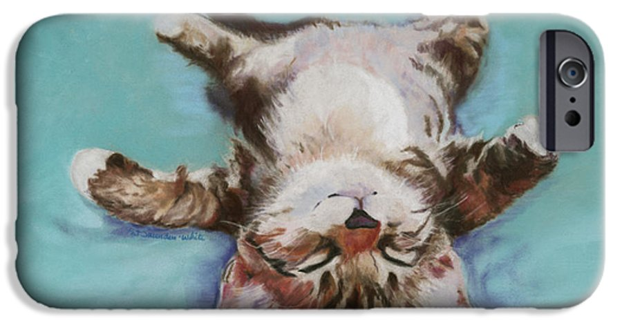 Cat Painting IPhone 6 Case featuring the pastel Little Napper by Pat Saunders-White