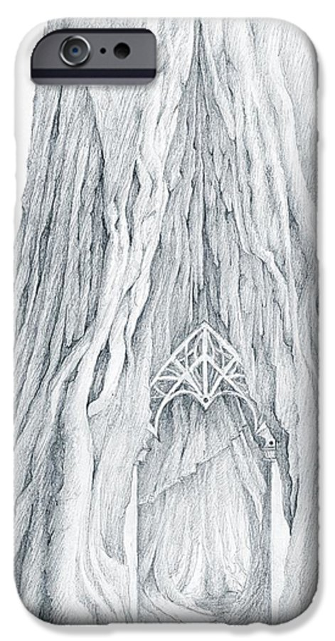 Lothlorien IPhone 6 Case featuring the drawing Lothlorien Mallorn Tree by Curtiss Shaffer