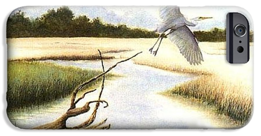 Egret IPhone 6 Case featuring the painting Low Country Marsh by Ben Kiger