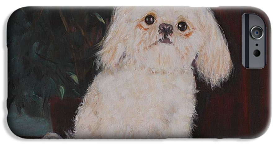 Dog IPhone 6 Case featuring the painting Lulu by Quwatha Valentine
