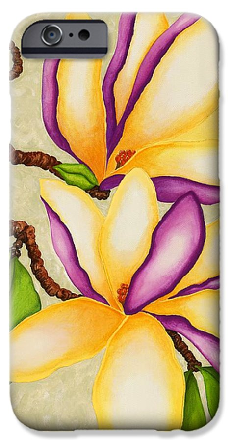 Two Magnolias IPhone 6 Case featuring the painting Magnolias by Carol Sabo