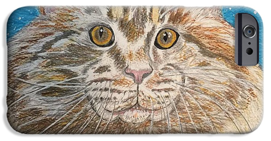 Maine IPhone 6 Case featuring the painting Maine Coon Cat by Kathy Marrs Chandler