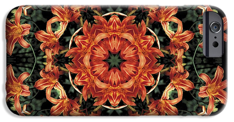 Mandala IPhone 6 Case featuring the photograph Mandala Daylily by Nancy Griswold