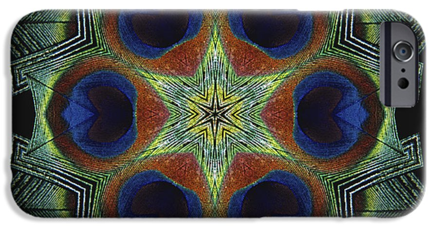 Mandala IPhone 6 Case featuring the digital art Mandala Peacock by Nancy Griswold