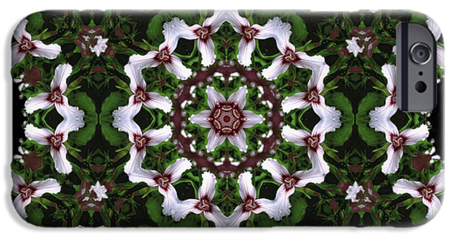 Mandala IPhone 6 Case featuring the digital art Mandala Trillium Holiday by Nancy Griswold