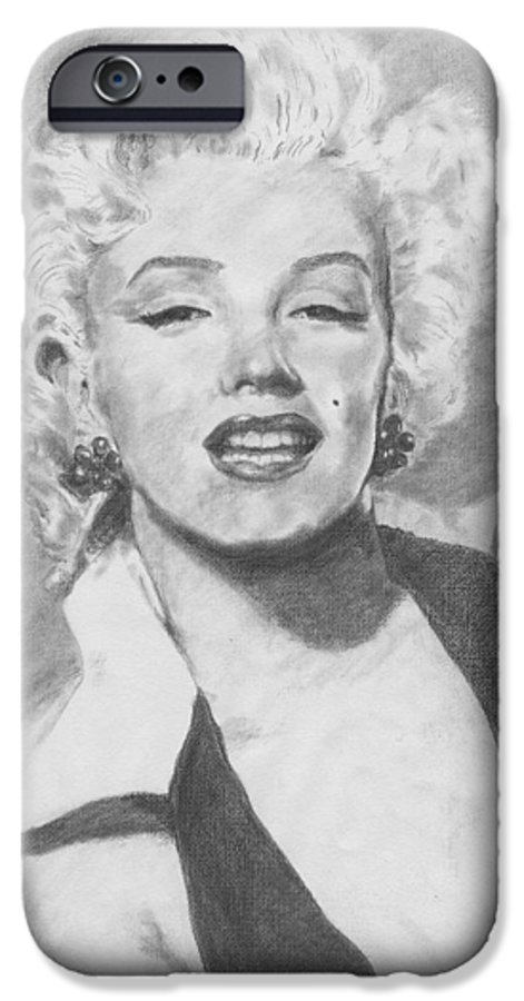 Marilyn IPhone 6 Case featuring the drawing Marilyn. by Janice Gell