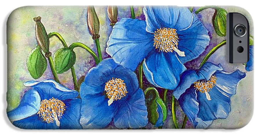 Blue Hymalayan Poppy IPhone 6 Case featuring the painting Meconopsis  Himalayan Blue Poppy by Karin Dawn Kelshall- Best
