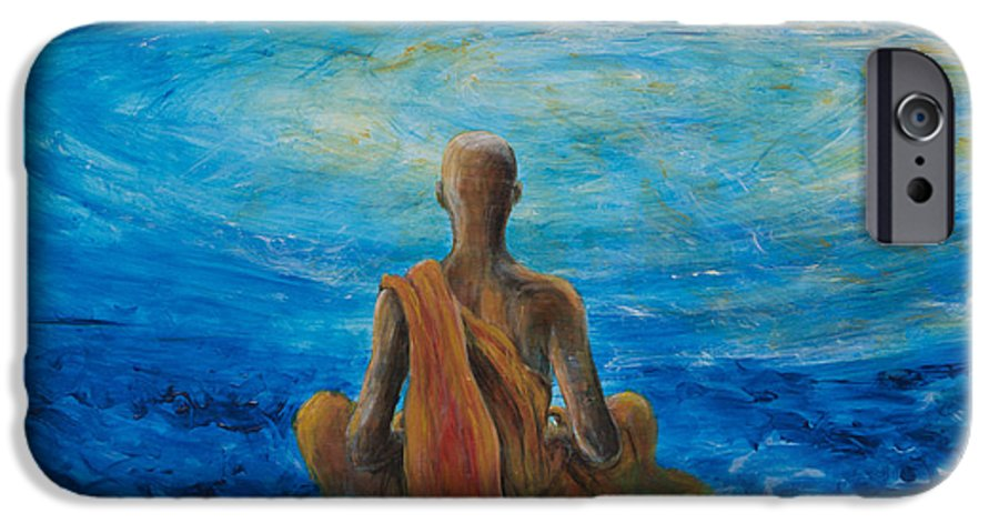 Monk IPhone 6 Case featuring the painting Meditation by Nik Helbig