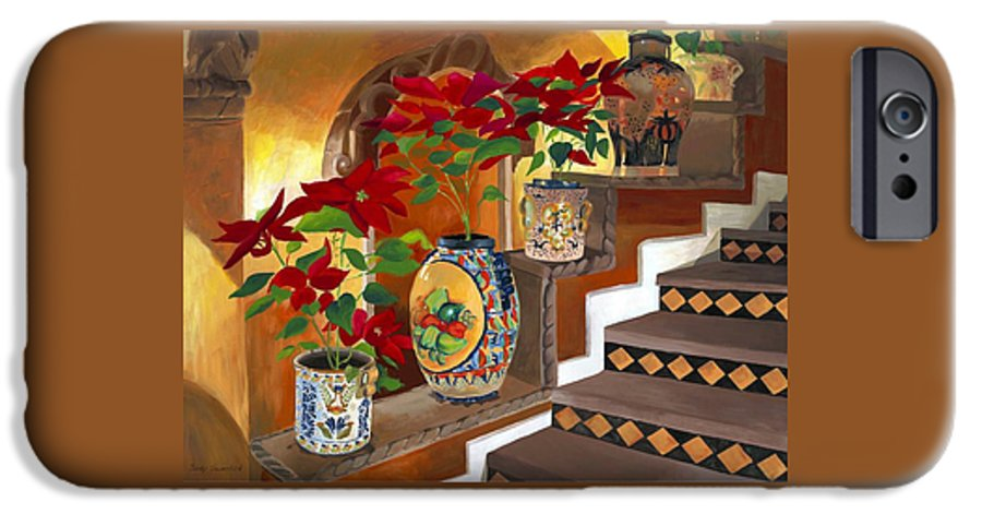 Mexican Pottery IPhone 6 Case featuring the painting Mexican Pottery On Staircase by Judy Swerlick