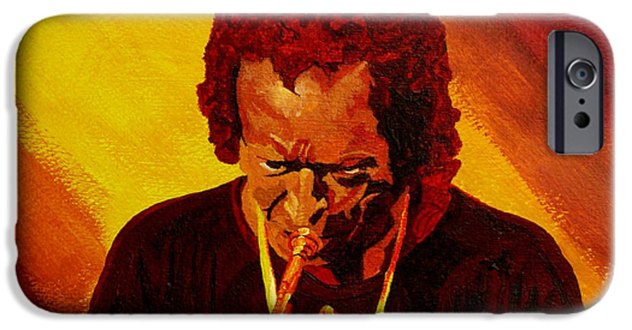 Miles Davis IPhone 6 Case featuring the painting Miles Davis Jazz Man by Anthony Dunphy
