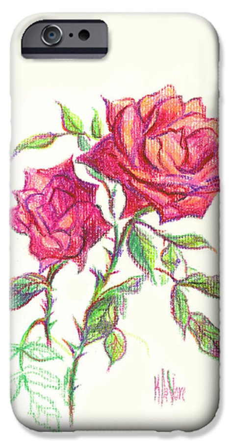Nature IPhone 6 Case featuring the painting Minature Red Rose by Kip DeVore