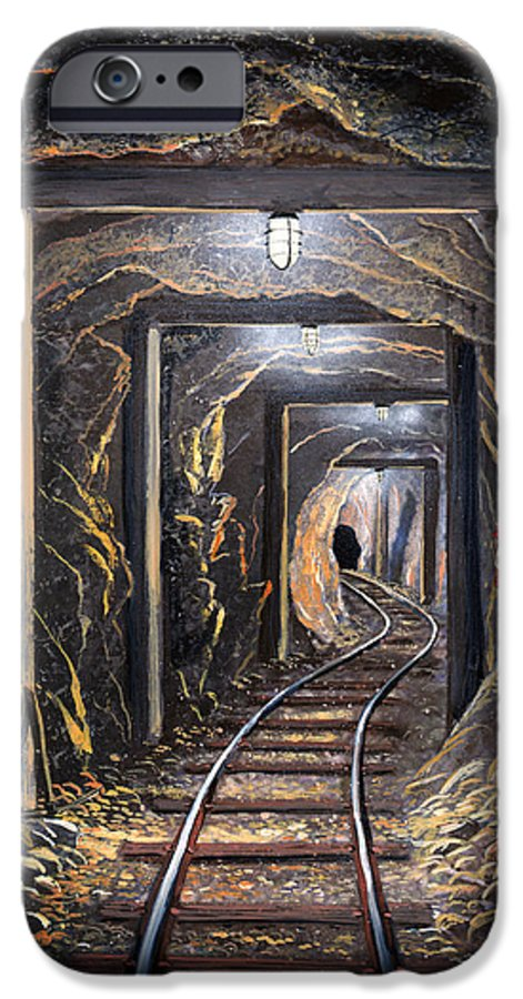 Mural IPhone 6 Case featuring the painting Mine Shaft Mural by Frank Wilson