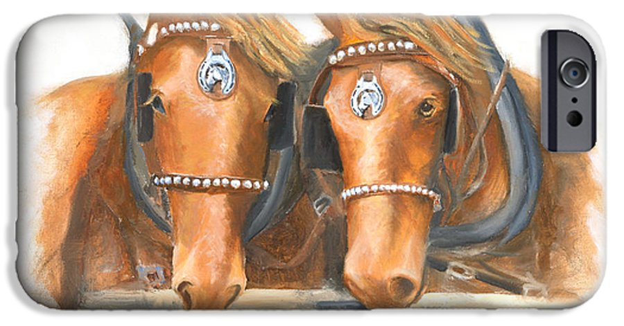 Horse IPhone 6 Case featuring the painting Mini And Jake by Jerry McElroy