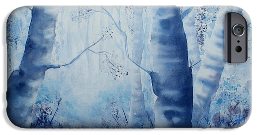 Landscape IPhone 6 Case featuring the painting Misty Blue by Janice Gell