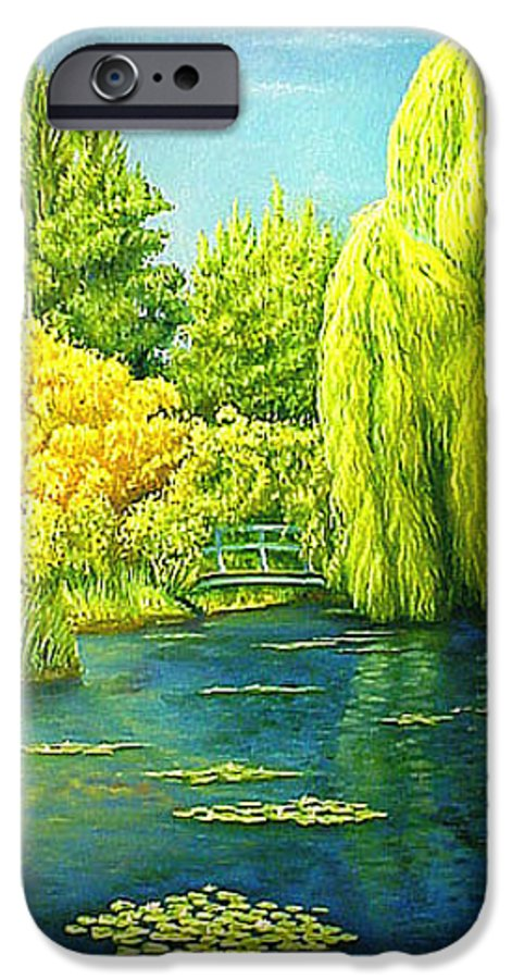 Monets Lily Pond IPhone 6 Case featuring the painting Monets Lily Pond In Green by Gary Hernandez