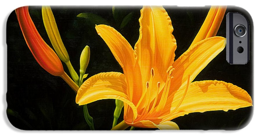 Floral IPhone 6 Case featuring the painting Monikas Lily by Gary Hernandez