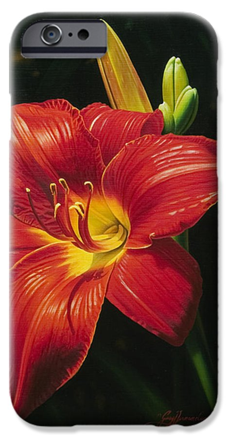 Lily IPhone 6 Case featuring the painting Monikas Red Lily by Gary Hernandez