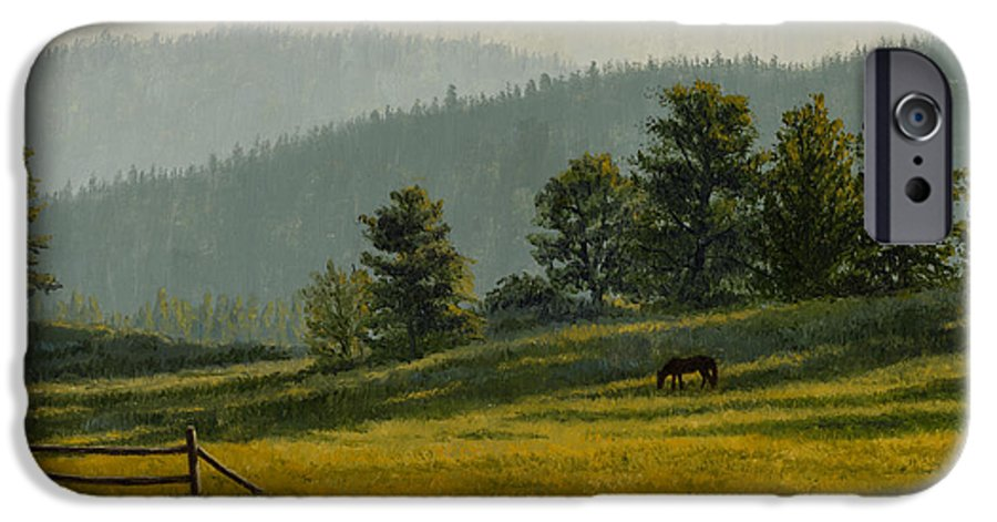 Montana IPhone 6 Case featuring the painting Montana Morning by Crista Forest