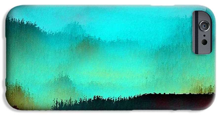 Morning Fog Silhouette The Layers Of The Fog Colors Pale Blue Rose Black IPhone 6 Case featuring the digital art Morning For You by Dr Loifer Vladimir