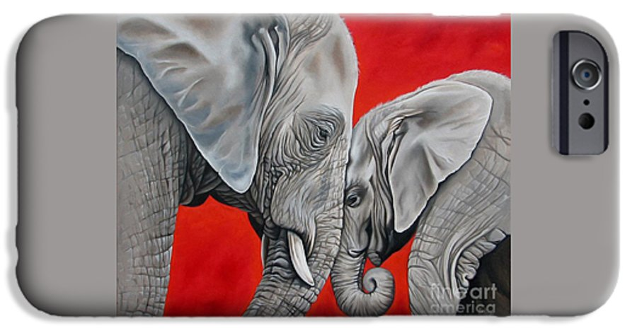 Elephant IPhone 6 Case featuring the painting Mothers Love by Ilse Kleyn